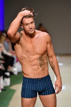 Logan Dodd walks the runway during the Jockey show during New Zealand Fashion Week 2018 at Viaduct Events Centre on August 30, 2018 in Auckland, New Zealand.