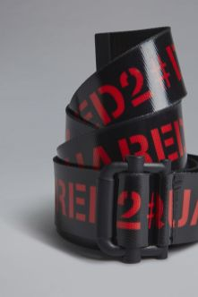 Red & Black Punk Tape Belt