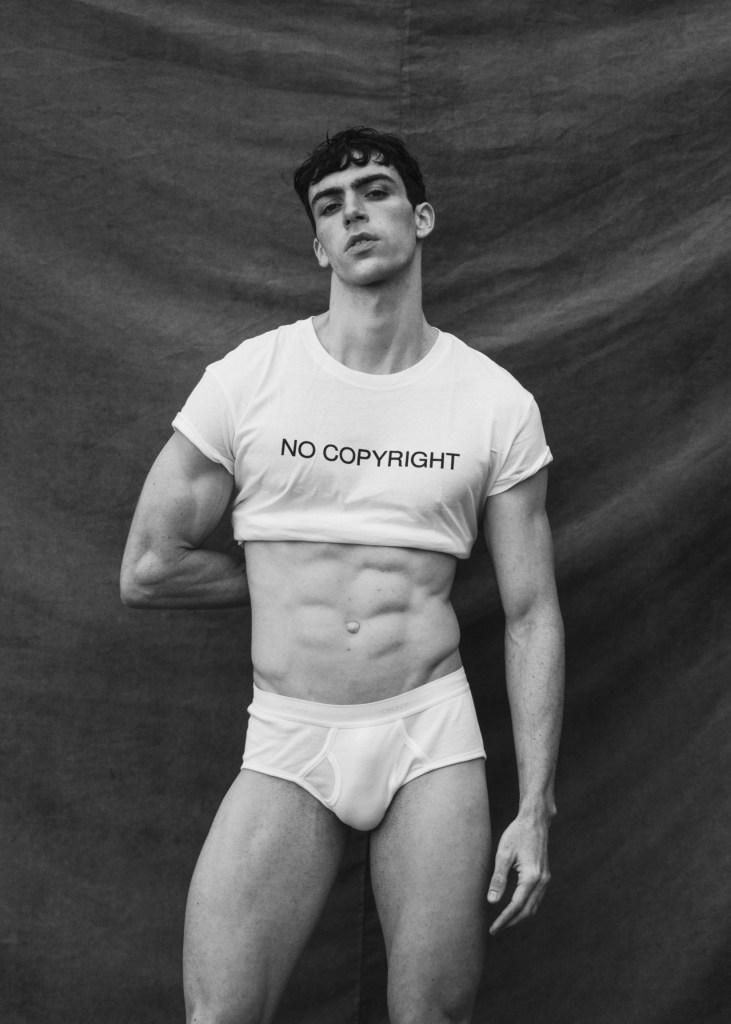 Male model in a croptop
