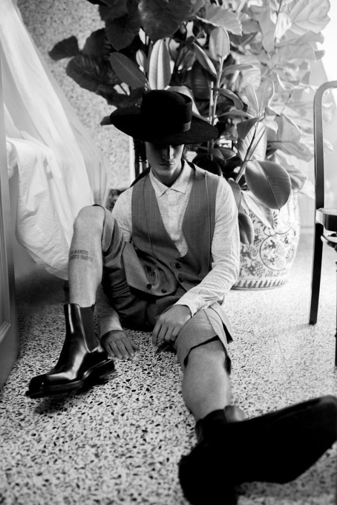 Model Jonathan Bellini posing for fashion editorial