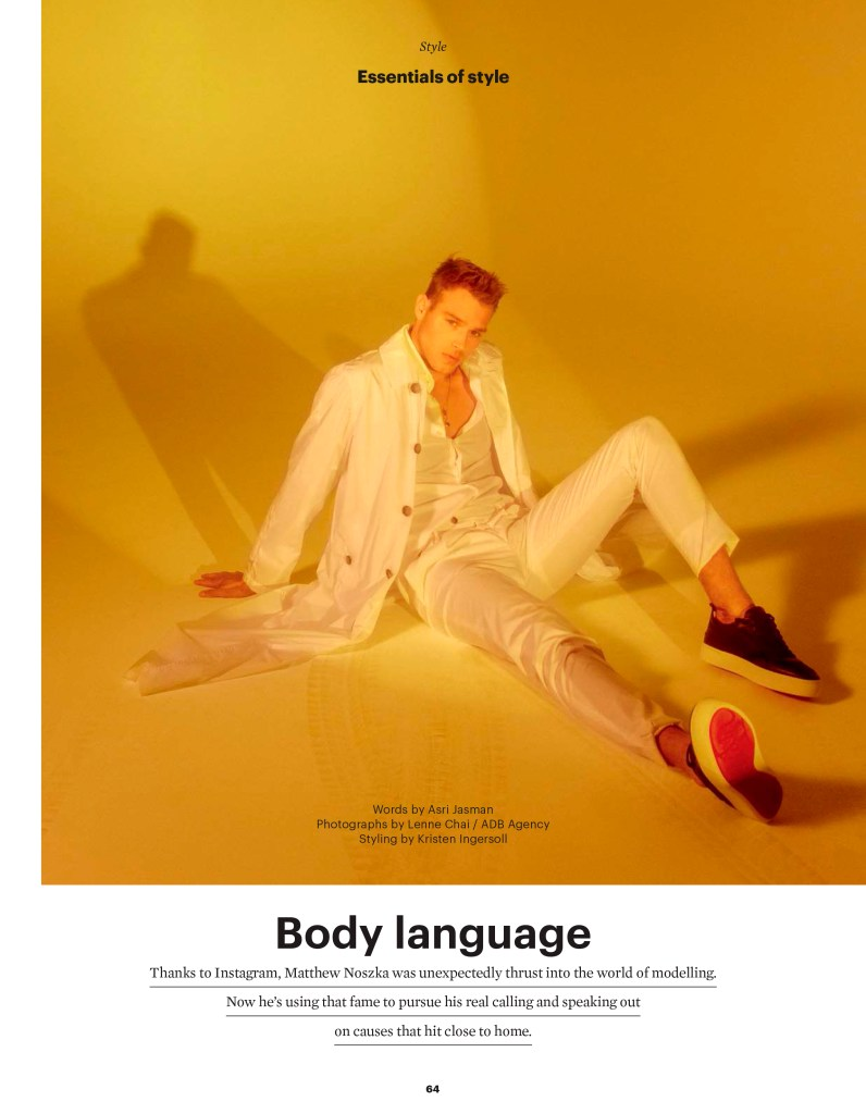 Matthew Noszka in Body Language for Esquire Singapore March 2020