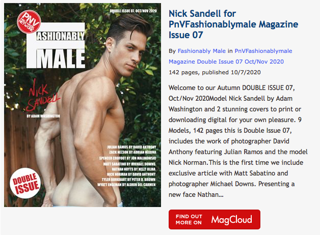 Nick Sandell for PnVFashionablymale Magazine Issue 07 Oct/Nov 2020