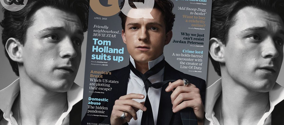 Tom Holland for April 2021 British GQ cover