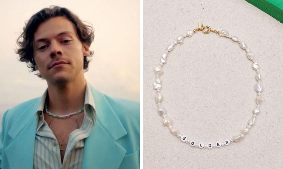 Harry Styles using Gemstones necklace