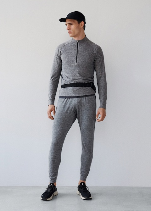 Online Exclusive. Activewear Collection. Technical fabric. Breathable stretch fabric. High collar. Zipper closure at the neck. Long sleeve. Reflective details.