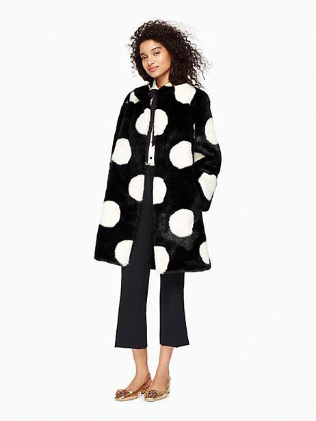 Polka Dot Faux Fur Coat $358