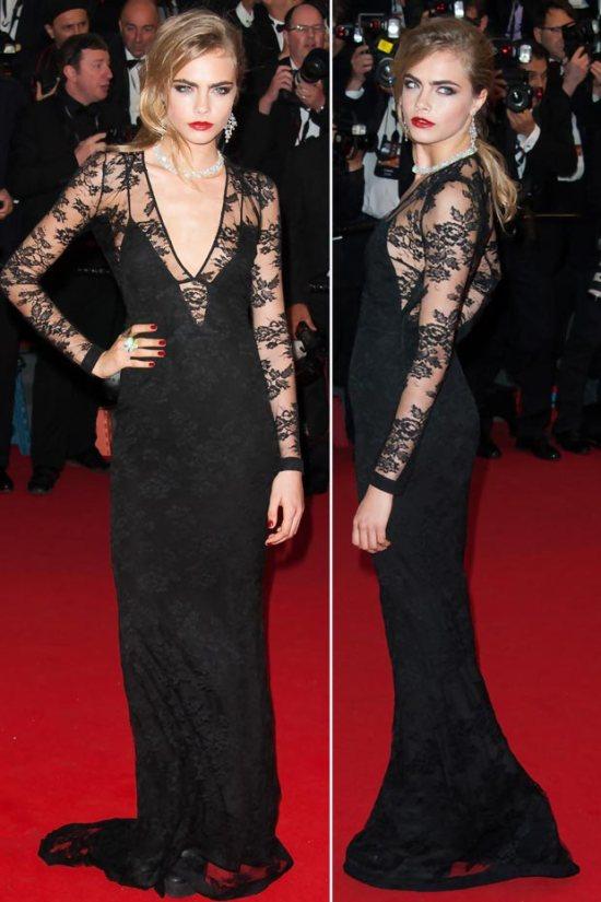 cara-delevingne-black-lace-dress-cannes-2013-red-carpet