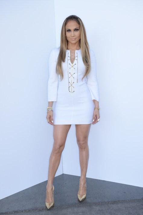 Jennifer-Lopezs-American-Idol-Michael-Kors-Chain-Lace-Up-Dress-and-Gold-Casadei-Pumps