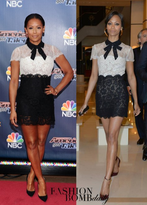zoe-saldana-mel-b-lace-black-and-white-dress