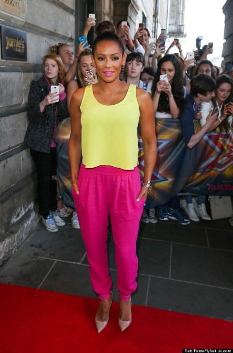 FAMEFLYNET - Mel B Arrives For The X Factor Auditions In Edinburgh