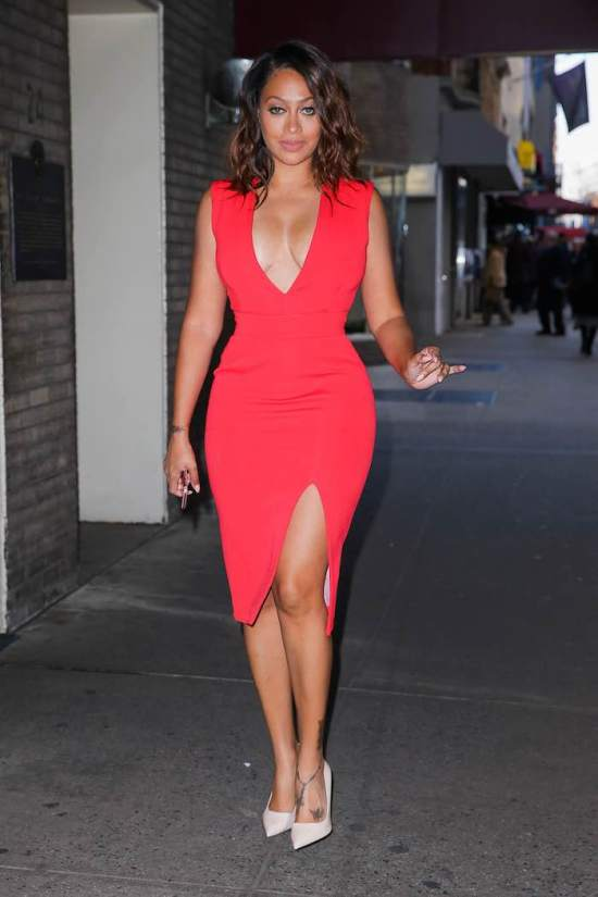 Lala-Anthonys-Chiraq-and-Unforgettable-Press-Day-Nicholas-Red-Deep-V-Neck-Dress