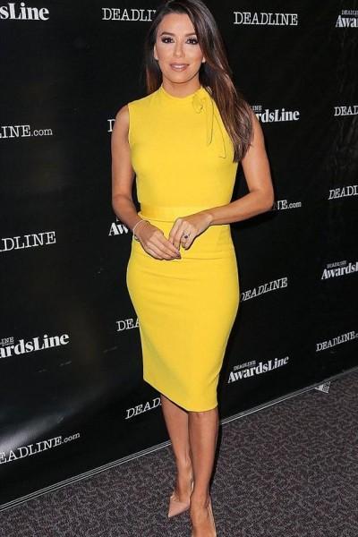 Steal-Eva-Longoria-Deadline-Los-Angeles-Zara-Yellow-Tube-Dress-5-400x600