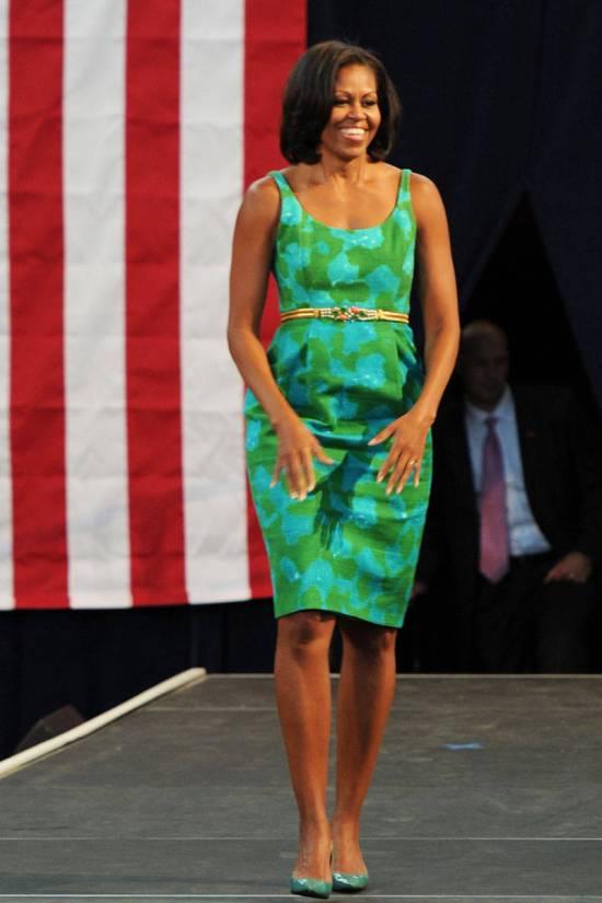 michelle-obama-style-green-bodycon-dress