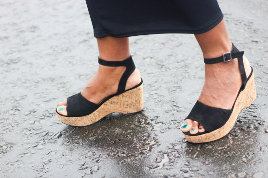 Wedge Black Sandals Picture