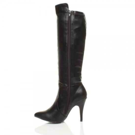 Women's Faux Leather Stiletto Heel Riding Calf Boots With Zip Fastening And Pointed Toe picture