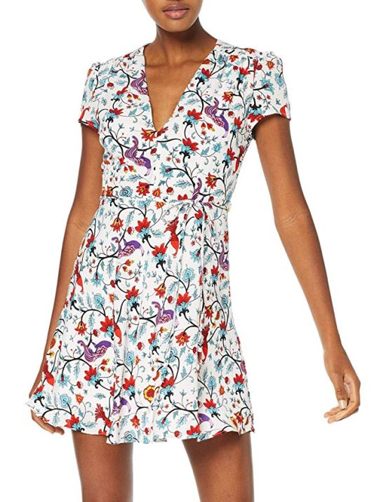Glamorous Women's White Floral Wrap Summer Dress Picture