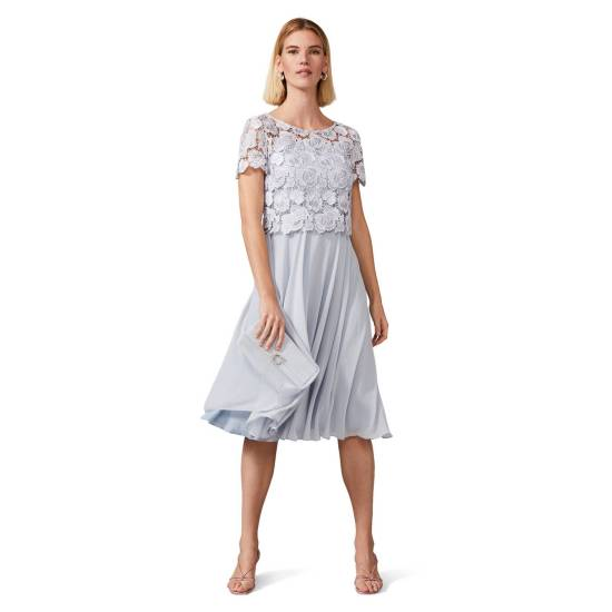 Phase Eight - Mineral Brandie Lace Bodice Chiffon Dress picture