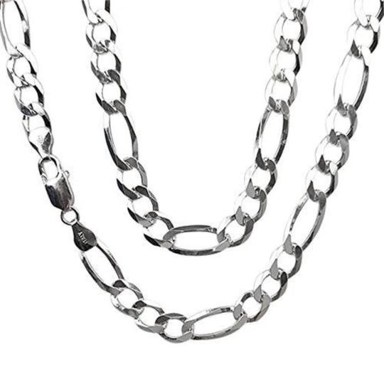 7.2mm Sterling Silver Figaro Chain Necklace picture