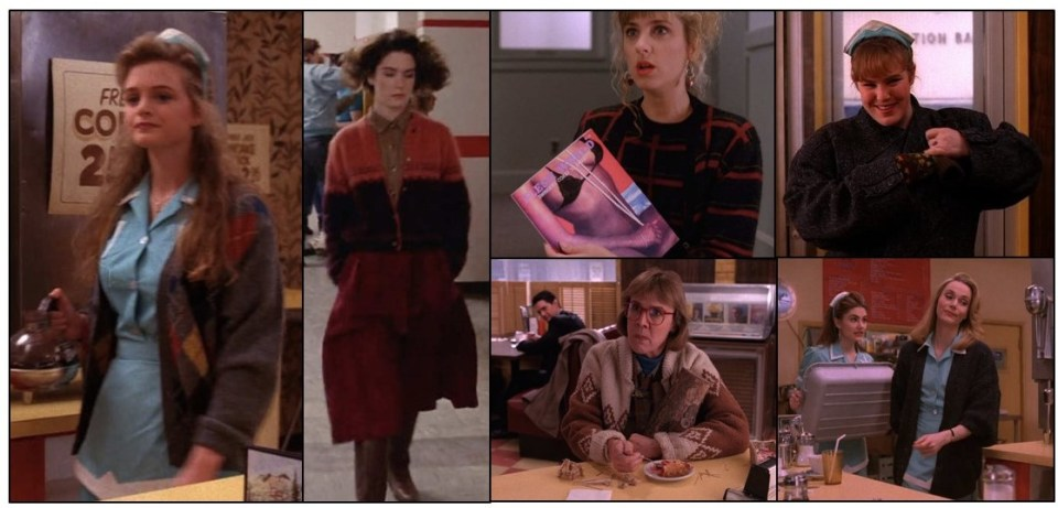 The Women of Twin Peaks in their Cardigans: stills from the series