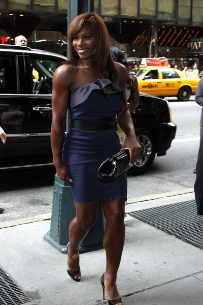 Serena Williams at La La Vasquez and Carmelo Anthony wedding. by Vuitton
