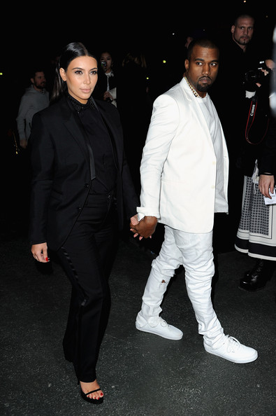 kim-kardashian-kanye-west-givenchy-fall-2013-fashion-show-paris-fashion-week-givenchy-blazer-pants-saint-laurent-shoes