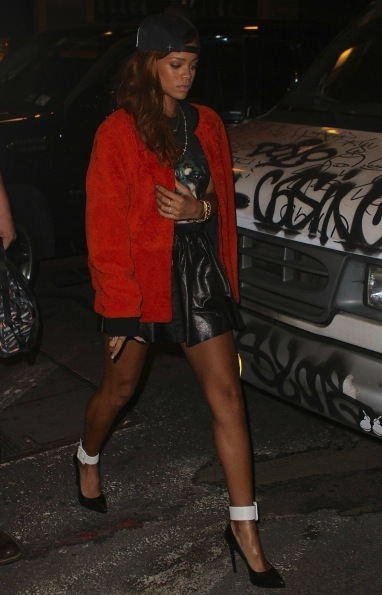 3 Rihanna's New York City Givenchy Rottweiler Tee, 3.1 Phillip Lim Orange Shearling Jacket, Leather Skirt, and Saint Laurent Escarpin Pump