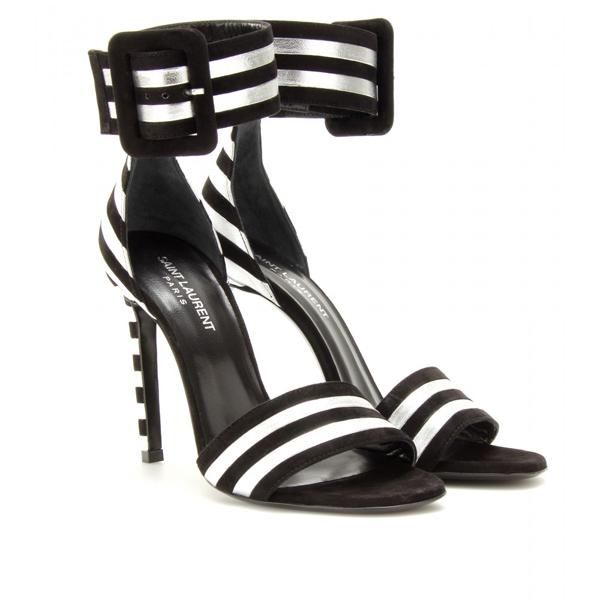 Saint-Laurent-Silver-and-Black-Striped-Sandals