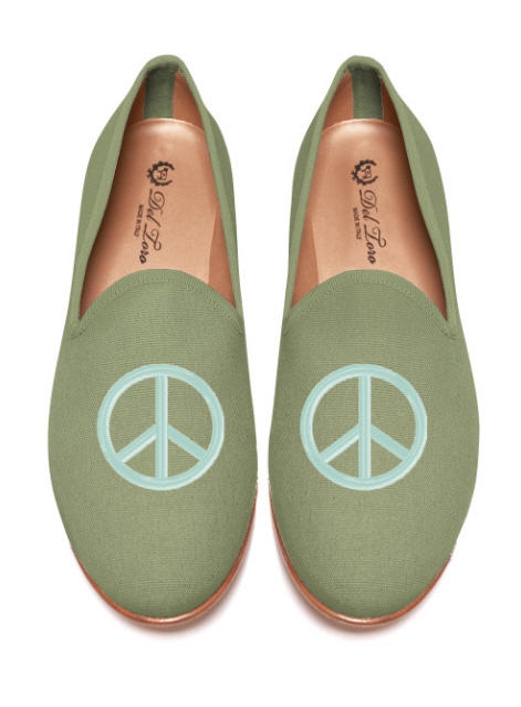 del-toro-fall-2013-prince-albert-olive-canvas-slipper-loafers-with-seafoam-peace-sign-embroidery