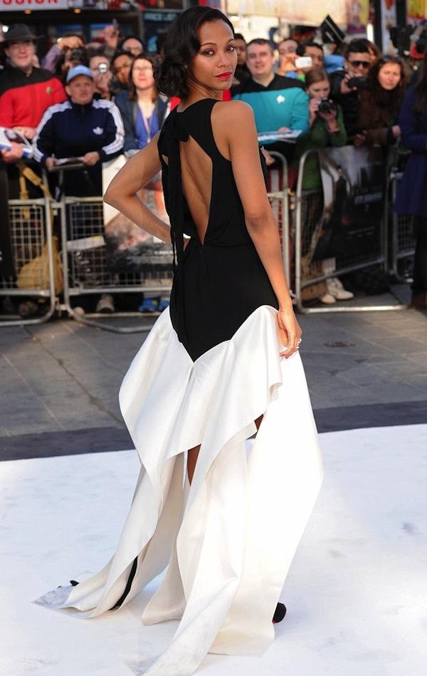 00 Zoe Saldana Star Trek Into Darkness UK premiere Vionnet Pre-Fall 2013 Black Silk Cady Geometric Long Dress