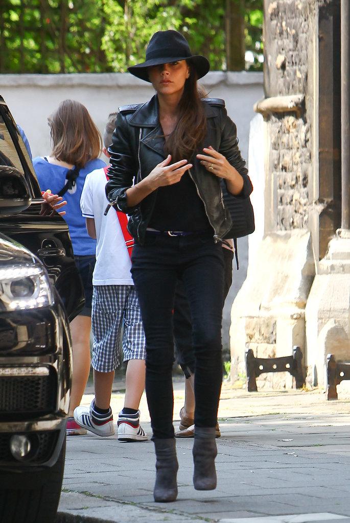 victoria-beckham-london-balenciaga-leather-jacket-maison-michel-trilby-velvet-hat-saint-laurent-paris-booties