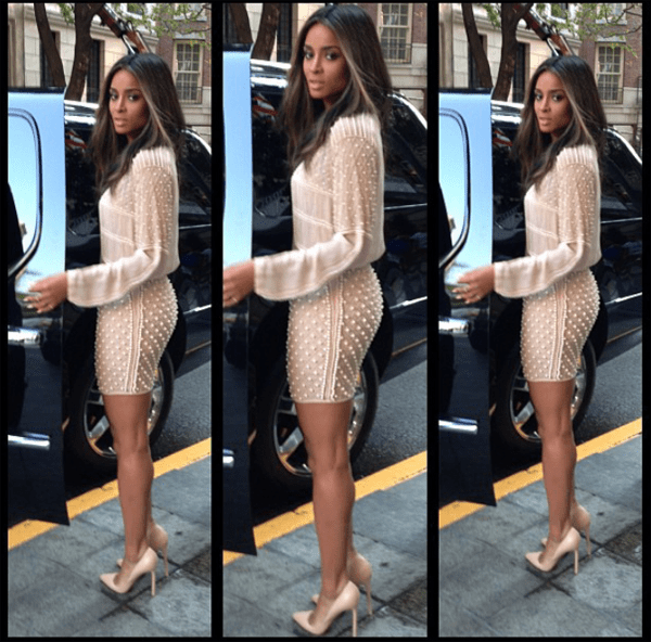 ciara in zara pearl embroidered skirt and blouse