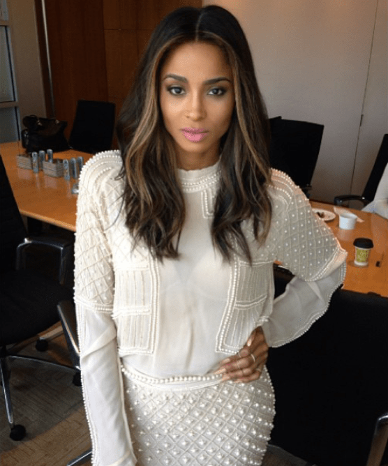 ciara in zara pearl skirt