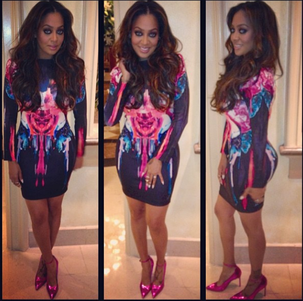 lala anthony baggage claim bodycon dress manolo blahnik pink heels