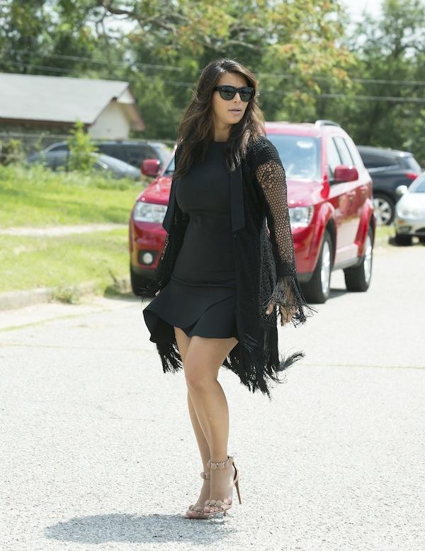 kim kardashian alaia circle suede sandals