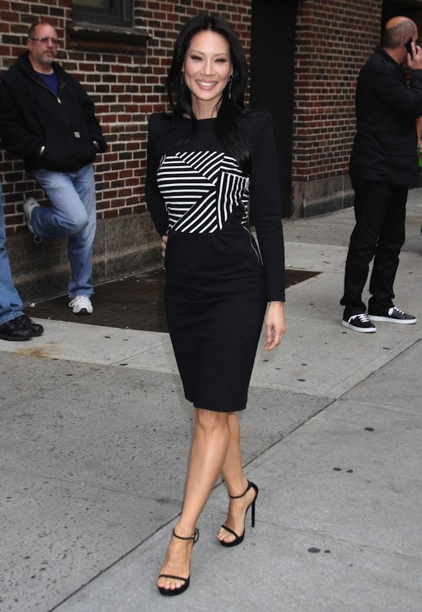 Lucy Liu's Late Show with David Letterman Band of Outsiders Striped  Dress