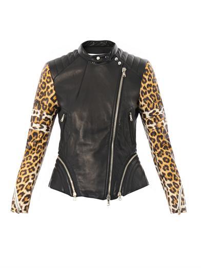 beyonce yonce video joan smalls jourdan dunn chanel iman 3.1 phillip lim leather biker jacket leopard sleeves
