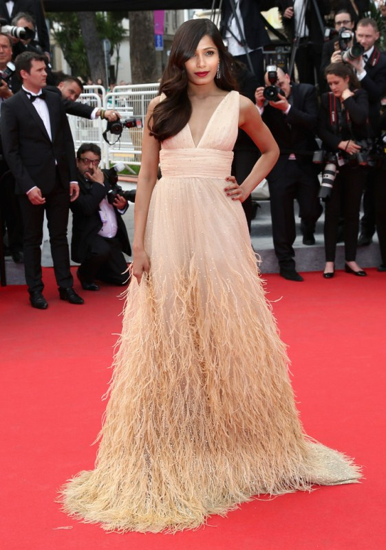 freida-pinto-saint-laurent-premiere-67th-annual-cannes-film-festival-michael-kors-feather-gown