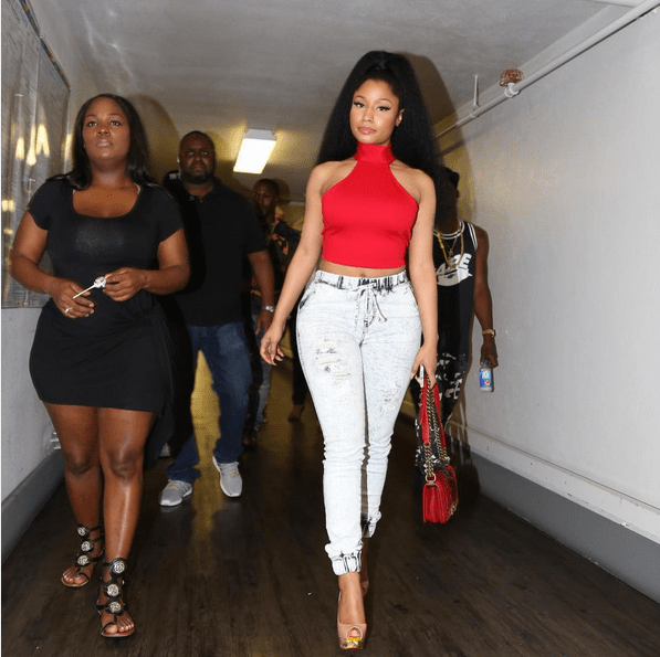 Celebrities Love  Fashion Nova   Fashion Bomb Daily Style Magazine     nicki minaj fashion nova red crop top jeans