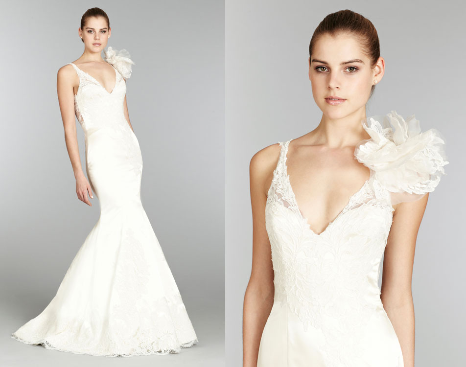 Lazaro-bridal-silk-faced-satin-trumpet-gown-lace-v-neck