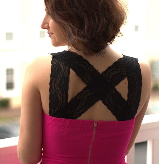 DIY Dress Kit Design: Pink Dress Black Lace and Butterflies