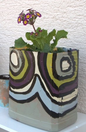 DIY Flower Pot with Abstract Shapes