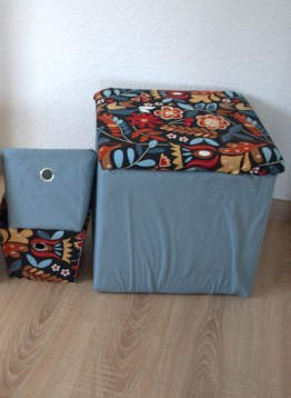 DIY storage ideas: Fabric covered boxes and ottoman