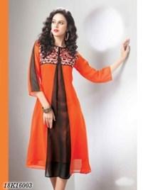 Exclusive Black and Orange Georgette Kurthi