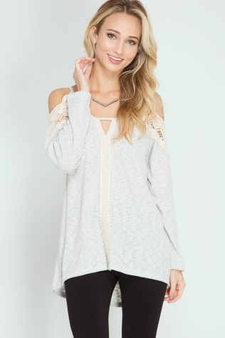 Waffle top with cold shoulder and crochet details available online at www.fashioncrossroadsinc.com