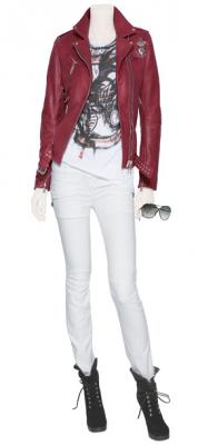 BALMAIN red leather jacket and white skinny pants in la mode en BLEU BLANC ROUGE on stylebop at fashion daily mag