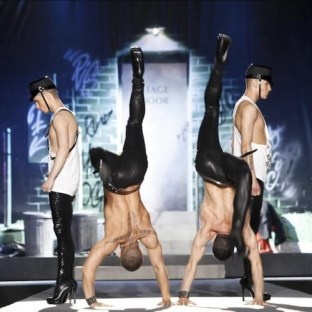 Dsquared2-MEN-in-handstands-Milan-spring-2012-runway-nowfashion-on-FashionDailyMag