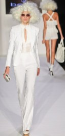 A model walks the runway wearing BEBE collection during Mercedes-Benz Fashion Week in New York on September 12, 2012