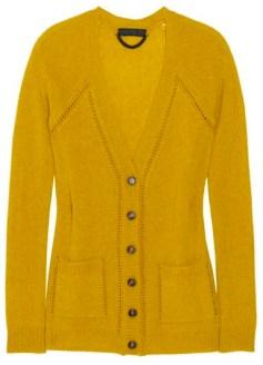 BURBERRY PRORSUM yellow cashmere cardi nap FashionDailyMag cashmere for the holidays