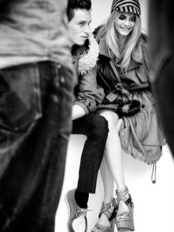 Eddie Redmayne and Cara Delevingne behind the scnenes at the Burberry Spring Summer 2012 ad campaign