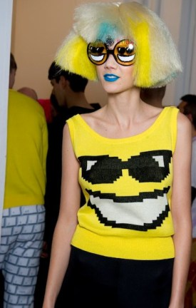 BACKSTAGE jeremy scott aw12 hair by wella professional on FashionDailyMag